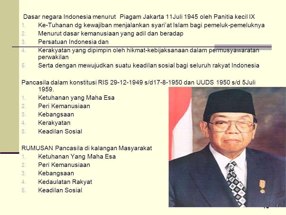 16 Dasar negara Indonesia menurut Piagam Jakarta 11Juli 1945 oleh Panitia kecil IX Dasar negara Indonesia menurut Piagam Jakarta 11Juli 1945 oleh Pani