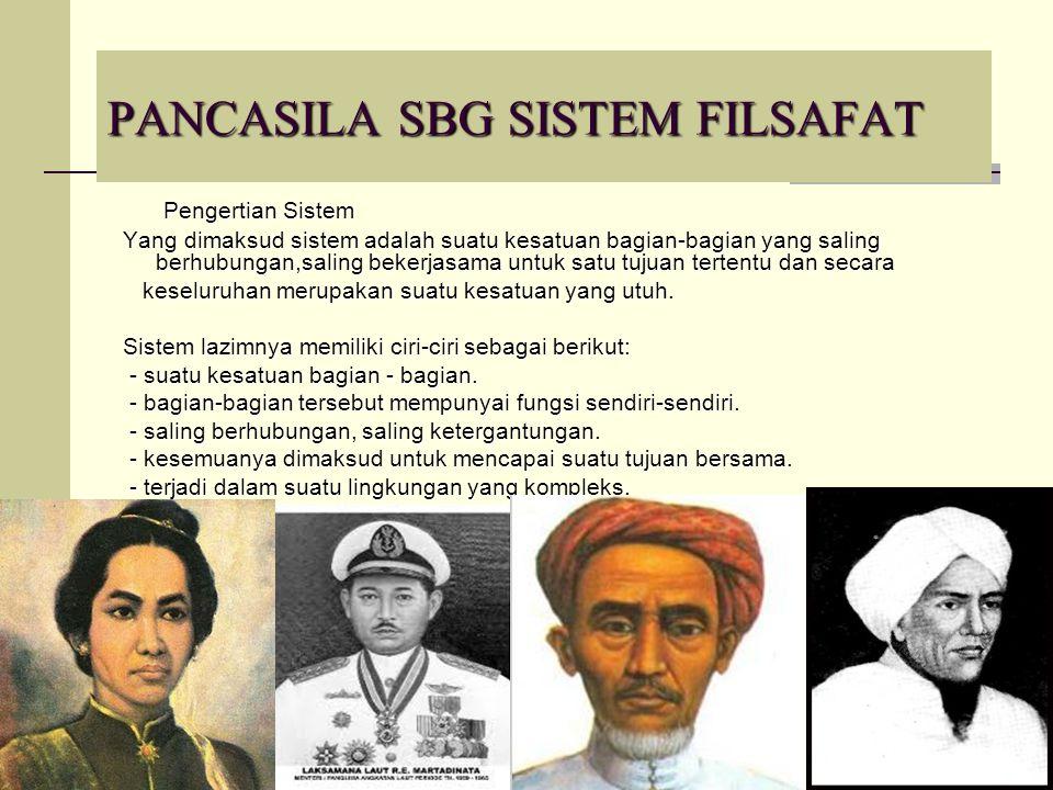 18 PANCASILA SBG SISTEM FILSAFAT Pengertian Sistem Pengertian Sistem Yang dimaksud sistem adalah suatu kesatuan bagian-bagian yang saling berhubungan,