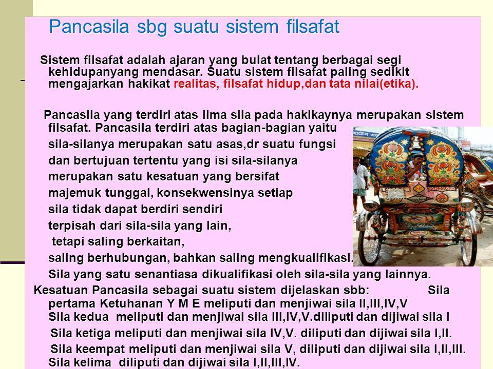 20 Pancasila sbg suatu sistem filsafat Pancasila sbg suatu sistem filsafat Sistem filsafat adalah ajaran yang bulat tentang berbagai segi kehidupanyan