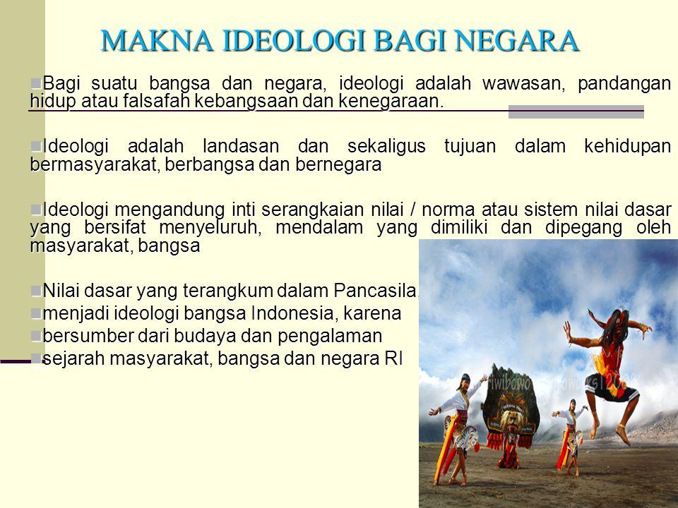 33 MAKNA IDEOLOGI BAGI NEGARA Bagi suatu bangsa dan negara, ideologi adalah wawasan, pandangan hidup atau falsafah kebangsaan dan kenegaraan. Bagi sua