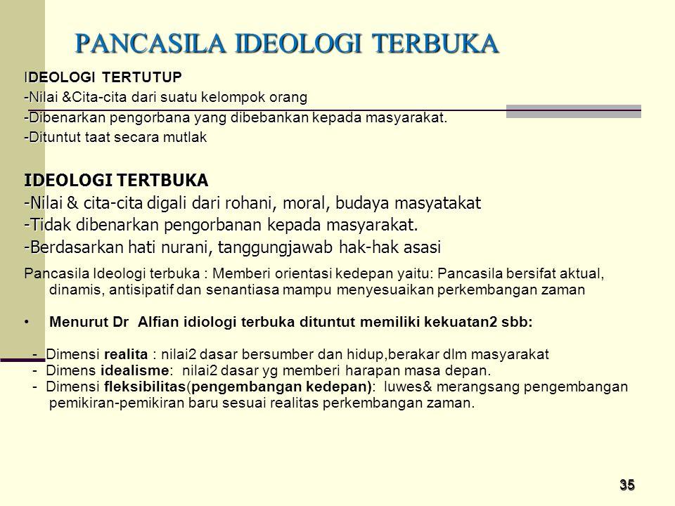 35 IDEOLOGI TERTUTUP -Nilai &Cita-cita dari suatu kelompok orang -Dibenarkan pengorbana yang dibebankan kepada masyarakat. -Dituntut taat secara mutla
