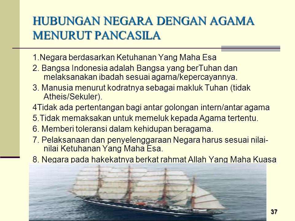 37 HUBUNGAN NEGARA DENGAN AGAMA MENURUT PANCASILA 1.Negara berdasarkan Ketuhanan Yang Maha Esa 2. Bangsa Indonesia adalah Bangsa yang berTuhan dan mel