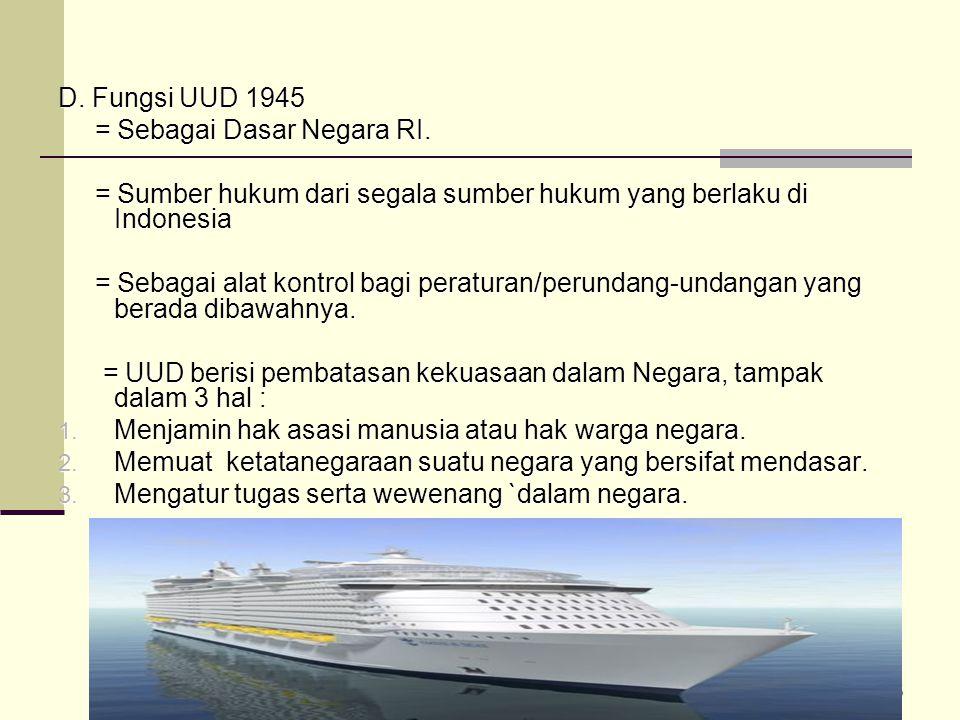45 D. Fungsi UUD 1945 = Sebagai Dasar Negara RI. = Sebagai Dasar Negara RI. = Sumber hukum dari segala sumber hukum yang berlaku di Indonesia = Sumber