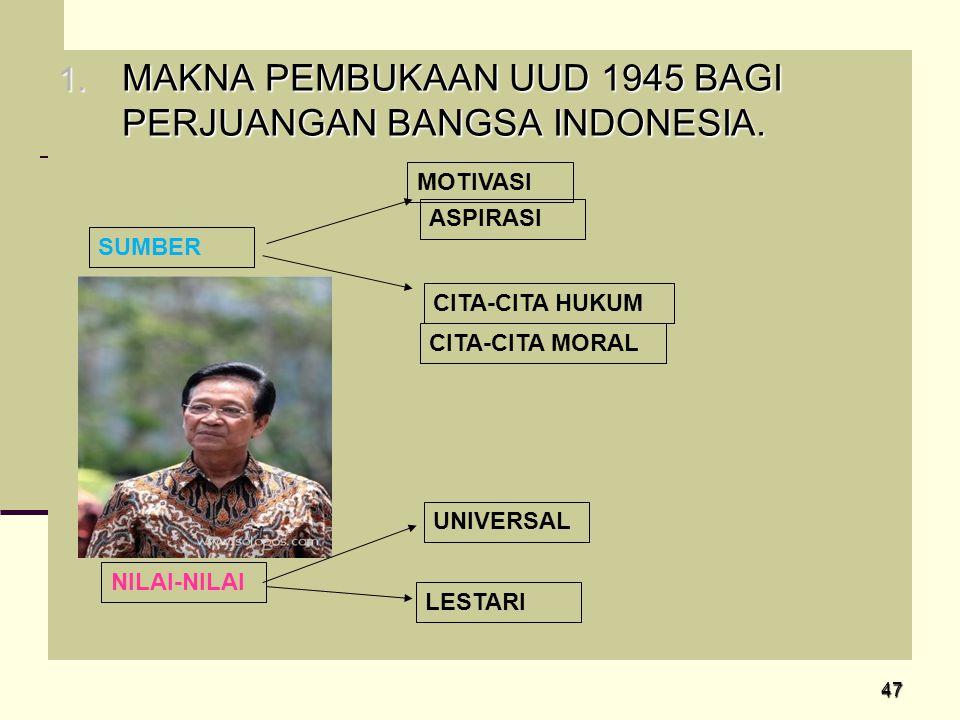 47 1. MAKNA PEMBUKAAN UUD 1945 BAGI PERJUANGAN BANGSA INDONESIA. SUMBER ASPIRASI CITA-CITA HUKUM CITA-CITA MORAL UNIVERSAL LESTARI NILAI-NILAI MOTIVAS