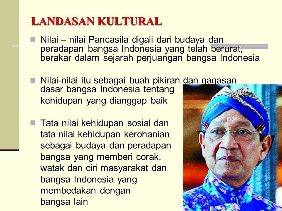 5 LANDASAN KULTURAL Nilai – nilai Pancasila digali dari budaya dan peradapan bangsa Indonesia yang telah berurat, berakar dalam sejarah perjuangan ban