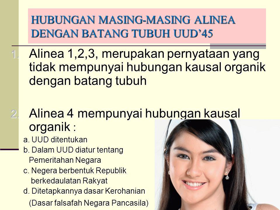 51 HUBUNGAN MASING-MASING ALINEA DENGAN BATANG TUBUH UUD'45 1. Alinea 1,2,3, merupakan pernyataan yang tidak mempunyai hubungan kausal organik dengan