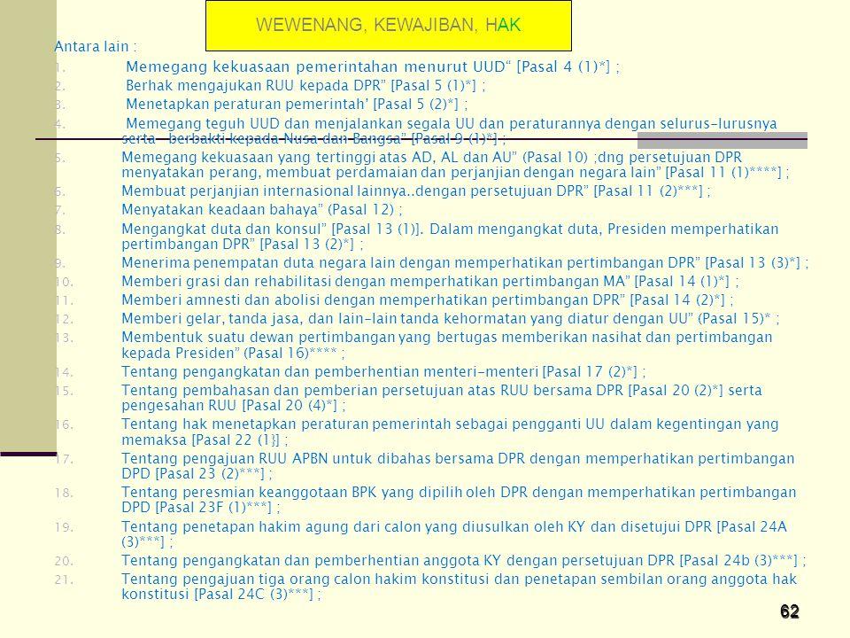 "62 Antara lain : 1. Memegang kekuasaan pemerintahan menurut UUD"" [Pasal 4 (1)*] ; 2. Berhak mengajukan RUU kepada DPR"" [Pasal 5 (1)*] ; 3. Menetapkan"