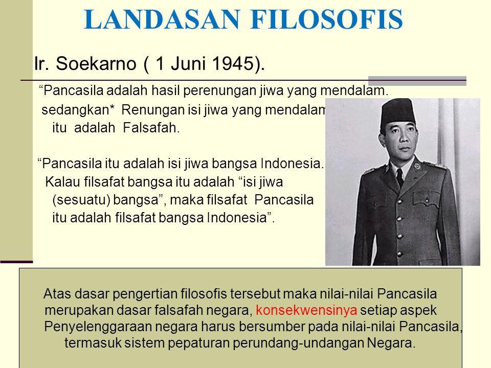 """7 Ir. Soekarno ( 1 Juni 1945). """"Pancasila adalah hasil perenungan jiwa yang mendalam. sedangkan* Renungan isi jiwa yang mendalam itu adalah Falsafah."""