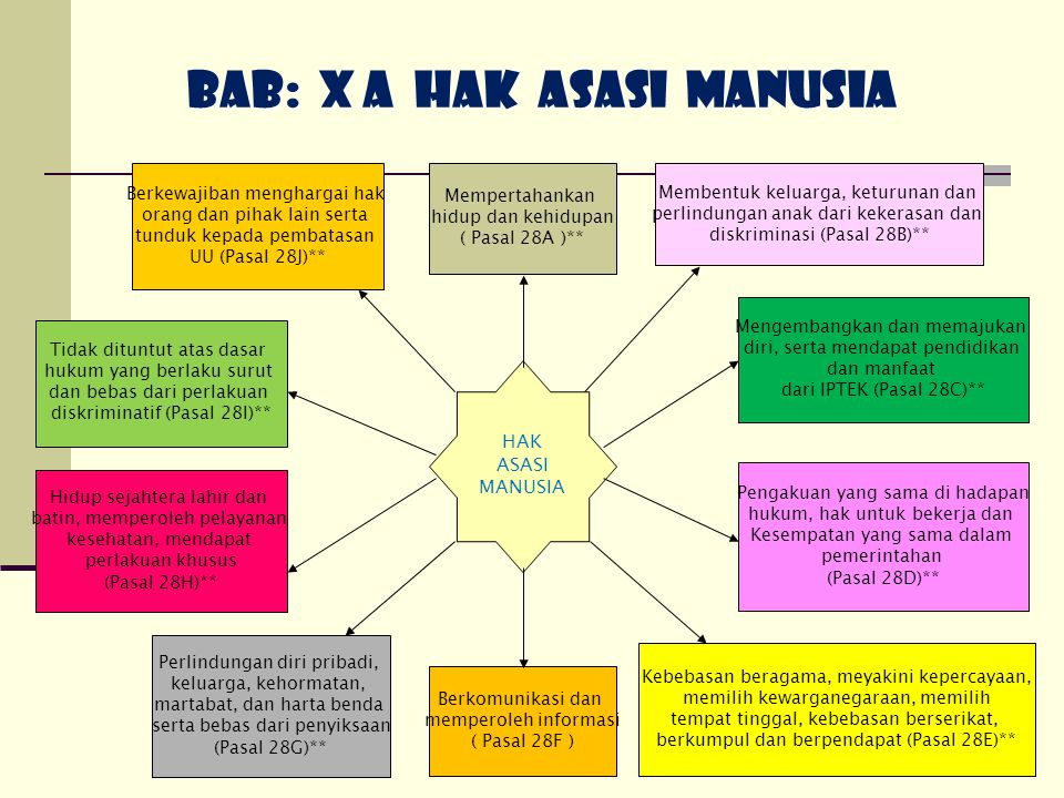 86 BAB: X A HAK ASASI MANUSIA HAK ASASI MANUSIA Berkomunikasi dan memperoleh informasi ( Pasal 28F ) Mempertahankan hidup dan kehidupan ( Pasal 28A )*