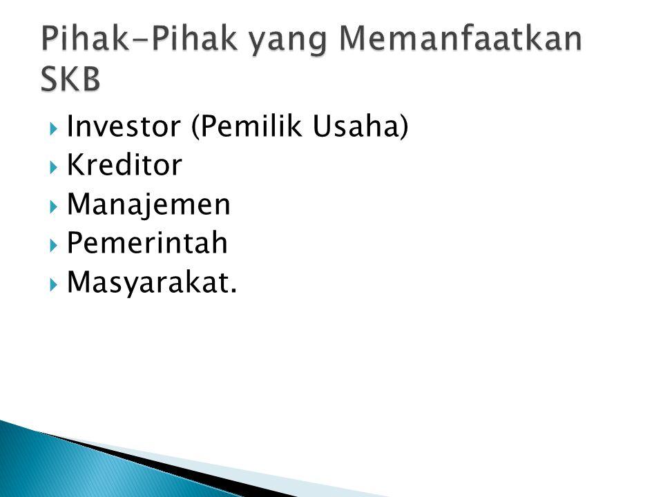  Investor (Pemilik Usaha)  Kreditor  Manajemen  Pemerintah  Masyarakat.
