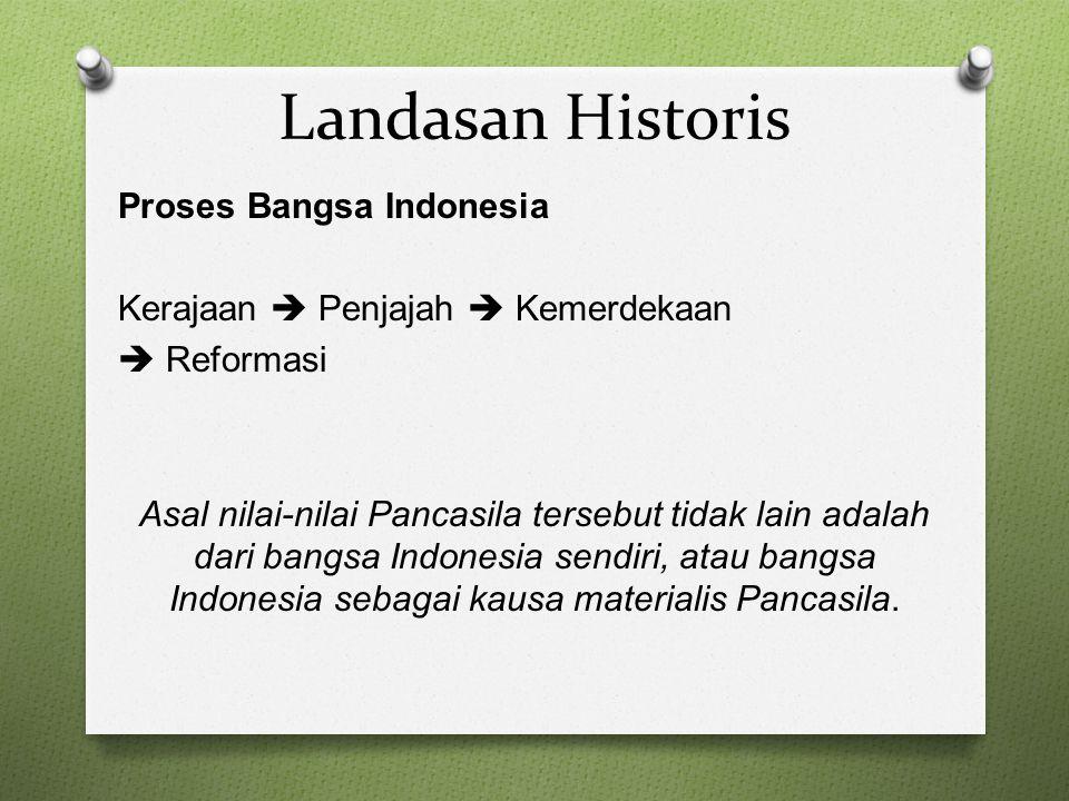 Landasan Historis Proses Bangsa Indonesia Kerajaan  Penjajah  Kemerdekaan  Reformasi Asal nilai-nilai Pancasila tersebut tidak lain adalah dari ban