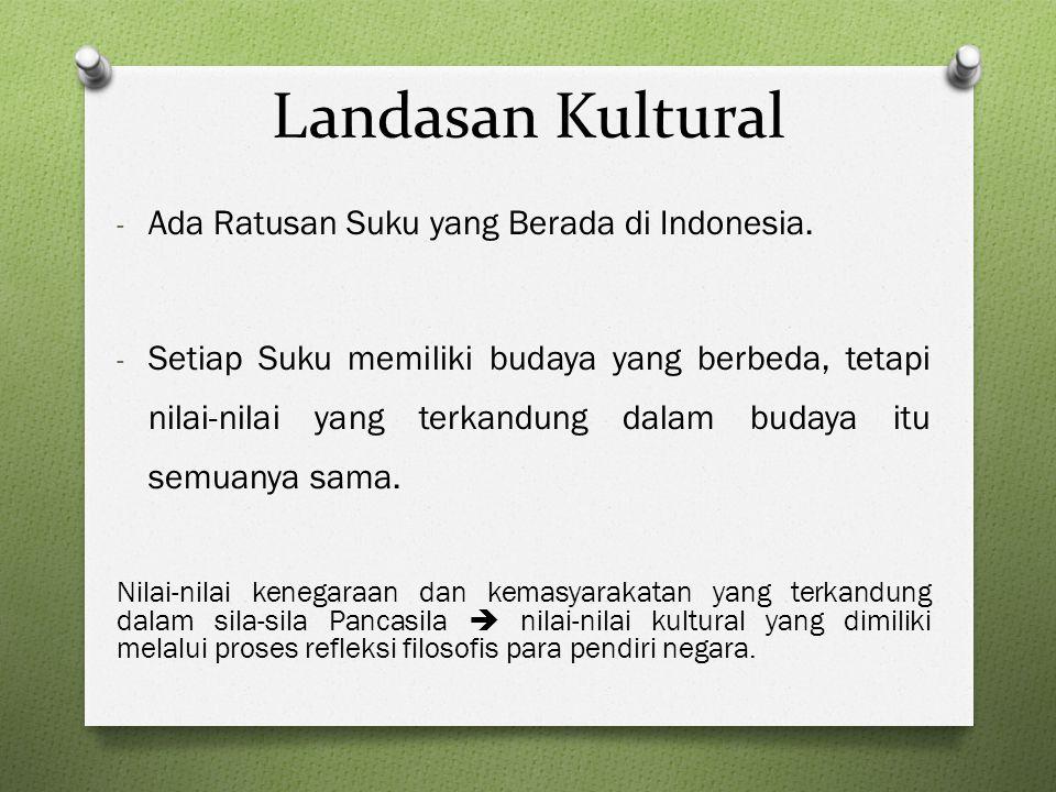 Landasan Kultural - Ada Ratusan Suku yang Berada di Indonesia. - Setiap Suku memiliki budaya yang berbeda, tetapi nilai-nilai yang terkandung dalam bu