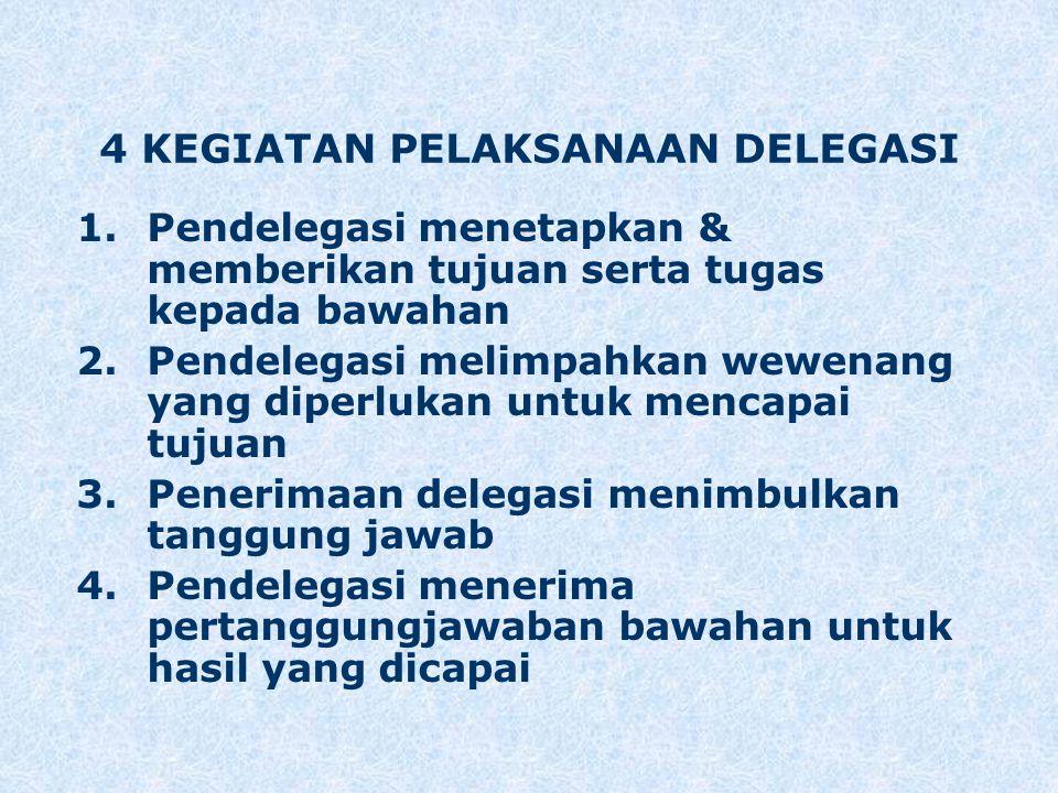 4 KEGIATAN PELAKSANAAN DELEGASI 1.Pendelegasi menetapkan & memberikan tujuan serta tugas kepada bawahan 2.Pendelegasi melimpahkan wewenang yang diperl