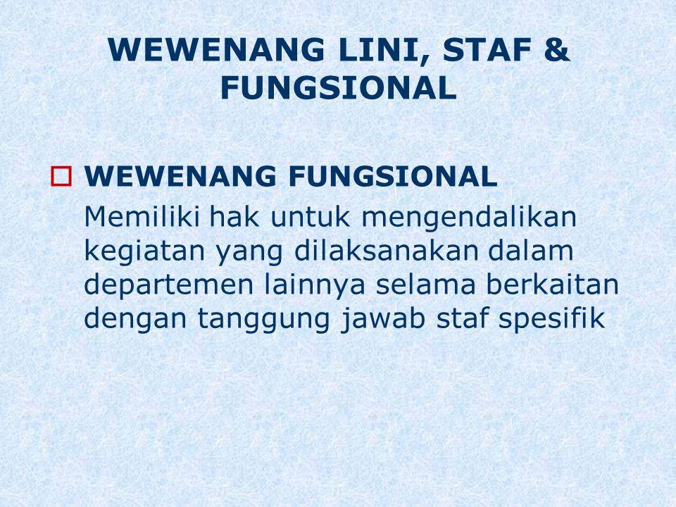  WEWENANG FUNGSIONAL Memiliki hak untuk mengendalikan kegiatan yang dilaksanakan dalam departemen lainnya selama berkaitan dengan tanggung jawab staf