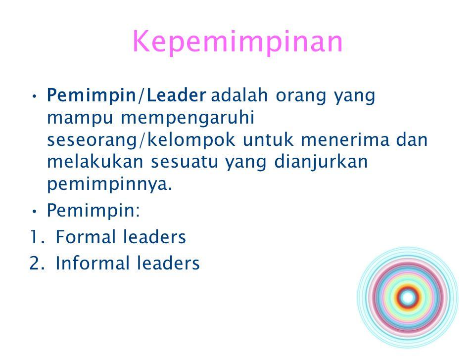 Kepemimpinan Pemimpin/Leader adalah orang yang mampu mempengaruhi seseorang/kelompok untuk menerima dan melakukan sesuatu yang dianjurkan pemimpinnya.