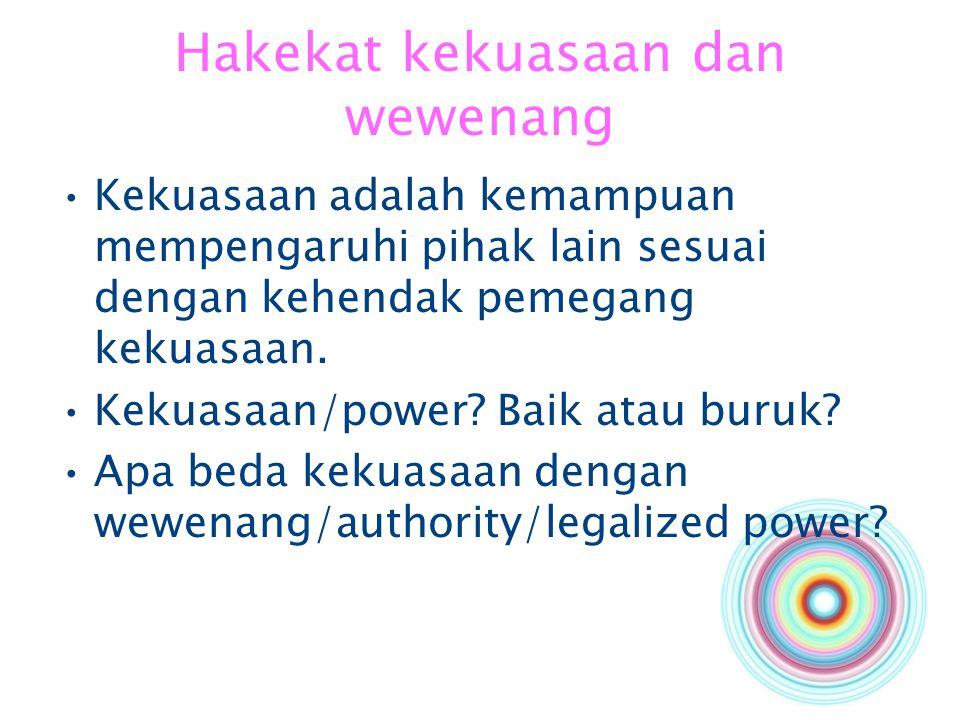 Hakekat kekuasaan dan wewenang Kekuasaan adalah kemampuan mempengaruhi pihak lain sesuai dengan kehendak pemegang kekuasaan. Kekuasaan/power? Baik ata
