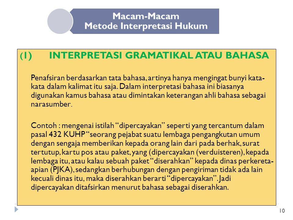 10 Macam-Macam Metode Interpretasi Hukum ( 1)INTERPRETASI GRAMATIKAL ATAU BAHASA Penafsiran berdasarkan tata bahasa, artinya hanya mengingat bunyi kat