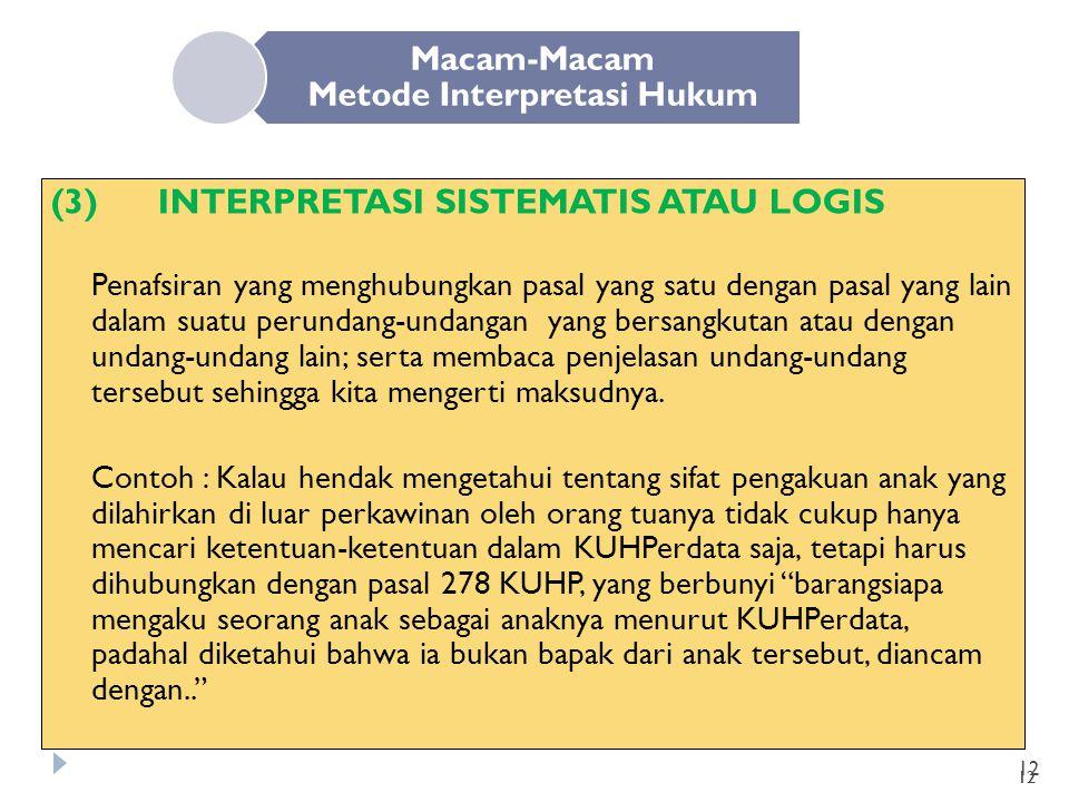 12 Macam-Macam Metode Interpretasi Hukum (3)INTERPRETASI SISTEMATIS ATAU LOGIS Penafsiran yang menghubungkan pasal yang satu dengan pasal yang lain da