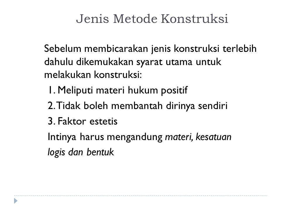 Metode Konstruksi: a.Metode Argumentum Per Analogiam, dan b.