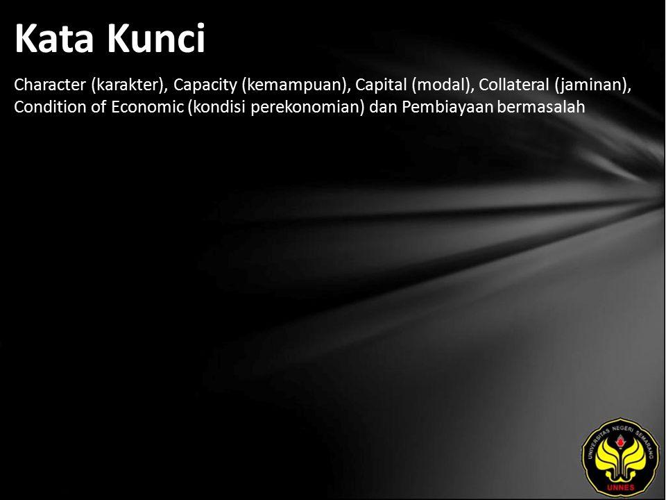 Kata Kunci Character (karakter), Capacity (kemampuan), Capital (modal), Collateral (jaminan), Condition of Economic (kondisi perekonomian) dan Pembiayaan bermasalah