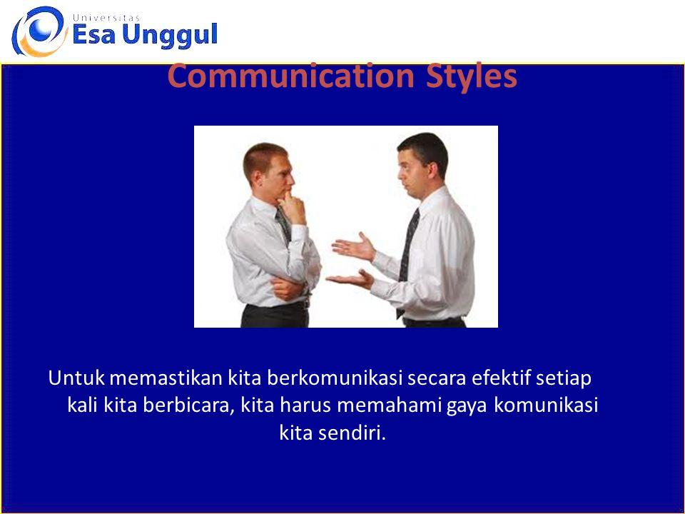Untuk memastikan kita berkomunikasi secara efektif setiap kali kita berbicara, kita harus memahami gaya komunikasi kita sendiri. Communication Styles