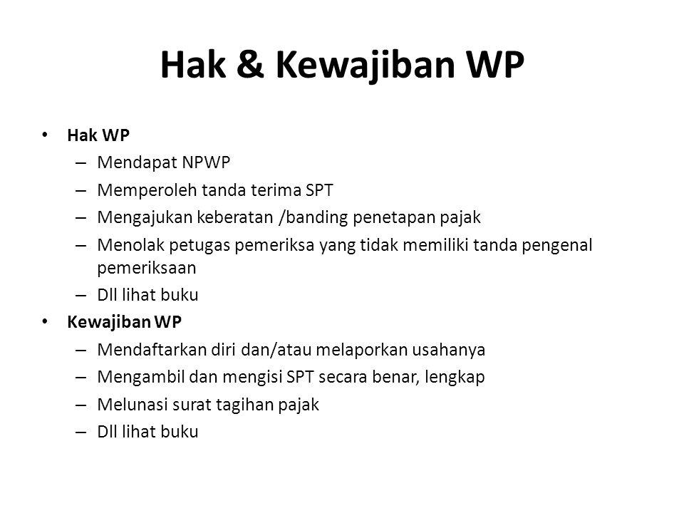Hak & Kewajiban WP Hak WP – Mendapat NPWP – Memperoleh tanda terima SPT – Mengajukan keberatan /banding penetapan pajak – Menolak petugas pemeriksa ya