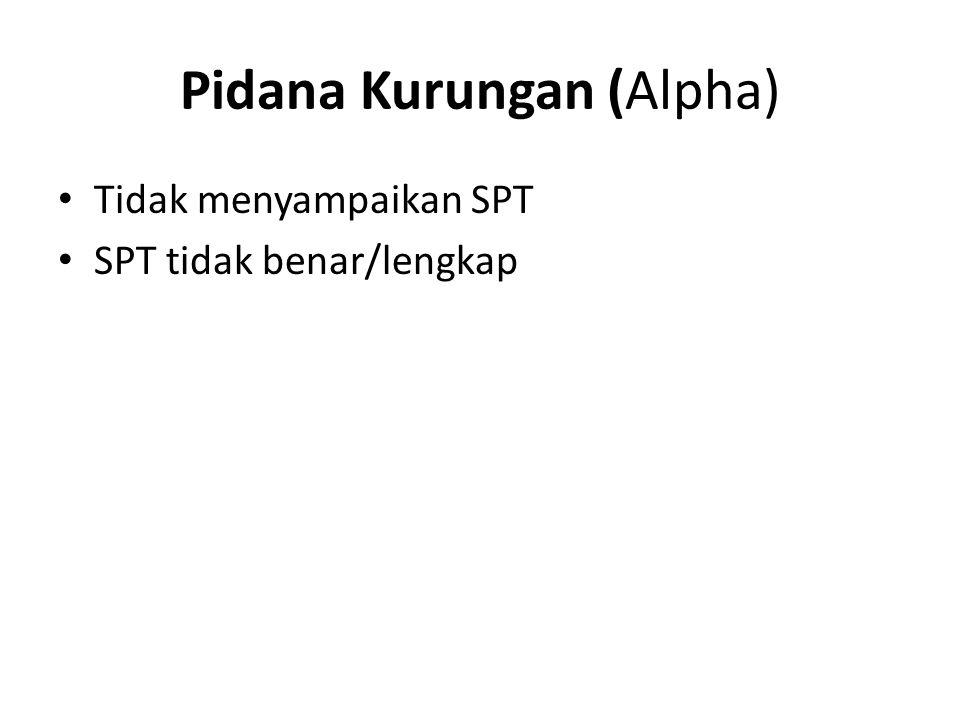 Pidana Kurungan (Alpha) Tidak menyampaikan SPT SPT tidak benar/lengkap