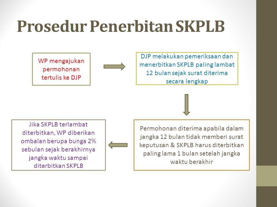 Prosedur Penerbitan SKPLB WP mengajukan permohonan tertulis ke DJP DJP melakukan pemeriksaan dan menerbitkan SKPLB paling lambat 12 bulan sejak surat