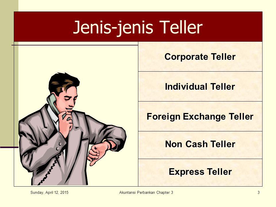 Sunday, April 12, 2015 Akuntansi Perbankan Chapter 33 Jenis-jenis Teller Express Teller Non Cash Teller Foreign Exchange Teller Individual Teller Corporate Teller