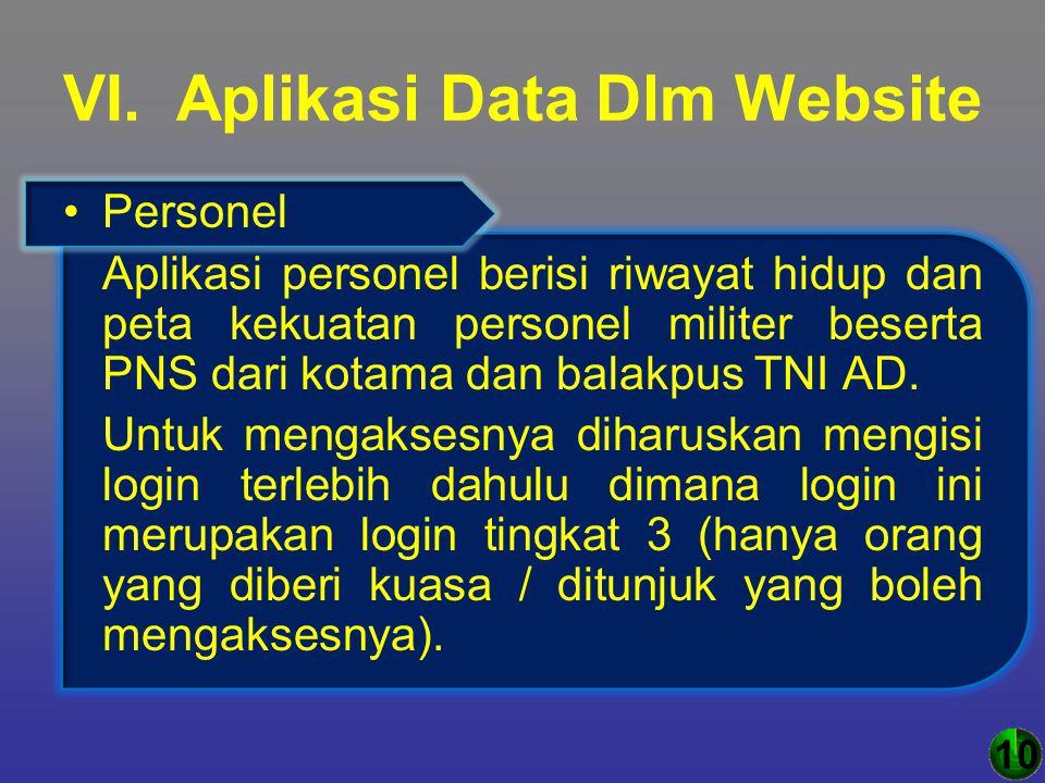 VI. Aplikasi Data Dlm Website Personel Aplikasi personel berisi riwayat hidup dan peta kekuatan personel militer beserta PNS dari kotama dan balakpus