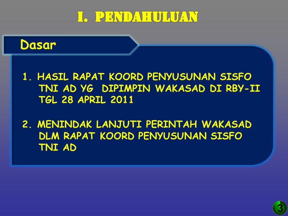 3 1. HASIL RAPAT KOORD PENYUSUNAN SISFO TNI AD YG DIPIMPIN WAKASAD DI RBY-II TGL 28 APRIL 2011 2. MENINDAK LANJUTI PERINTAH WAKASAD DLM RAPAT KOORD PE