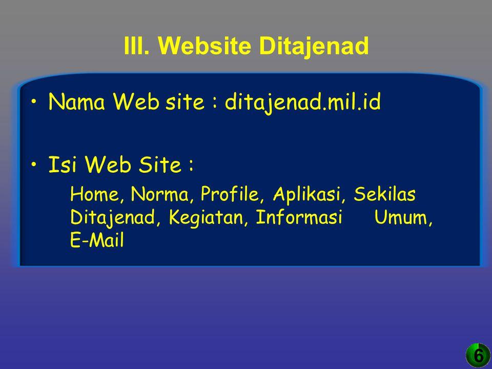 III. Website Ditajenad Nama Web site : ditajenad.mil.id Isi Web Site : Home, Norma, Profile, Aplikasi, Sekilas Ditajenad, Kegiatan, Informasi Umum, E-