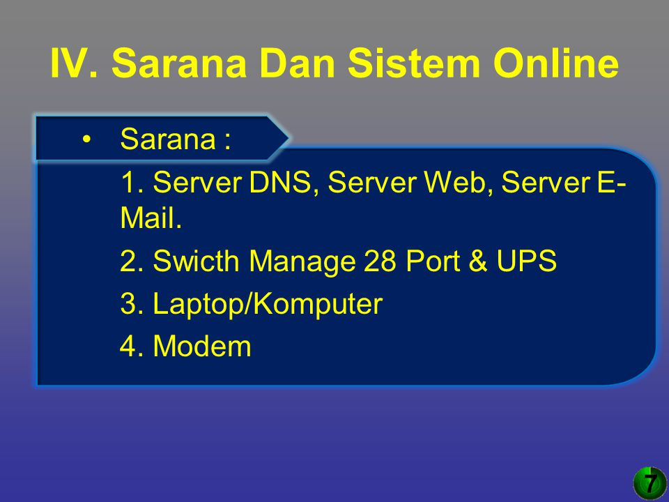IV. Sarana Dan Sistem Online Sarana : 1. Server DNS, Server Web, Server E- Mail. 2. Swicth Manage 28 Port & UPS 3. Laptop/Komputer 4. Modem 7