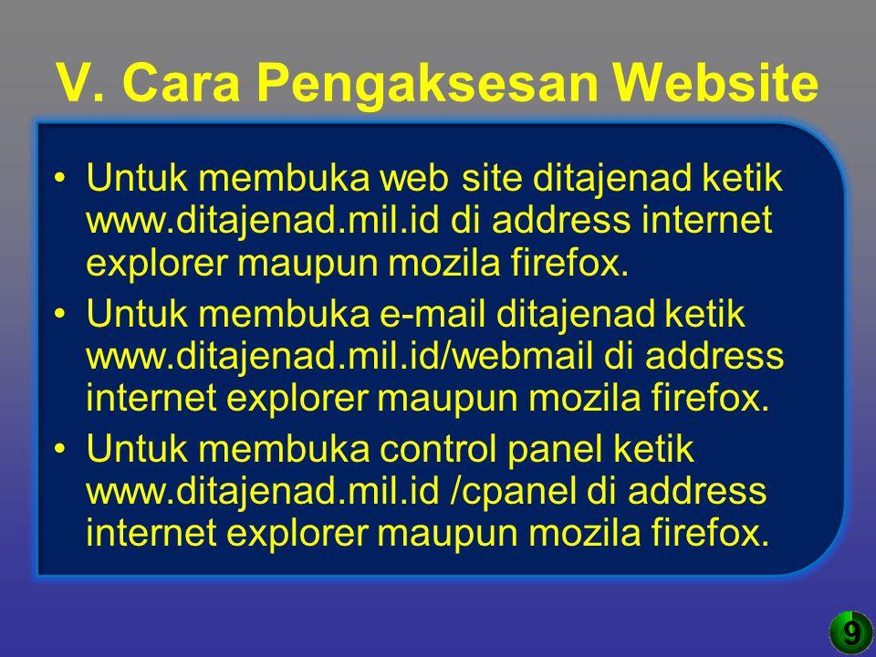 V. Cara Pengaksesan Website Untuk membuka web site ditajenad ketik www.ditajenad.mil.id di address internet explorer maupun mozila firefox. Untuk memb