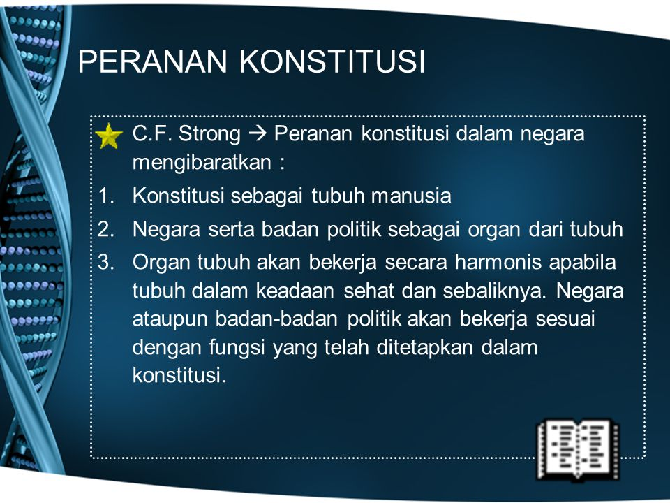 PERANAN KONSTITUSI C.F. Strong  Peranan konstitusi dalam negara mengibaratkan : 1.Konstitusi sebagai tubuh manusia 2.Negara serta badan politik sebag