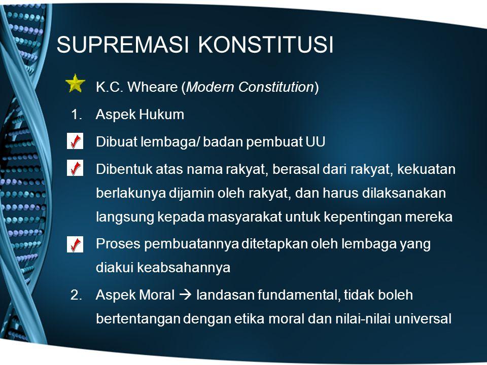 SUPREMASI KONSTITUSI K.C. Wheare (Modern Constitution) 1.Aspek Hukum Dibuat lembaga/ badan pembuat UU Dibentuk atas nama rakyat, berasal dari rakyat,