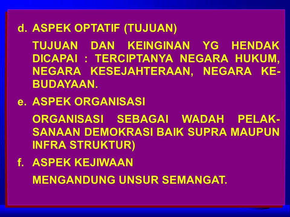 d.ASPEK OPTATIF (TUJUAN) TUJUAN DAN KEINGINAN YG HENDAK DICAPAI : TERCIPTANYA NEGARA HUKUM, NEGARA KESEJAHTERAAN, NEGARA KE- BUDAYAAN. e.ASPEK ORGANIS