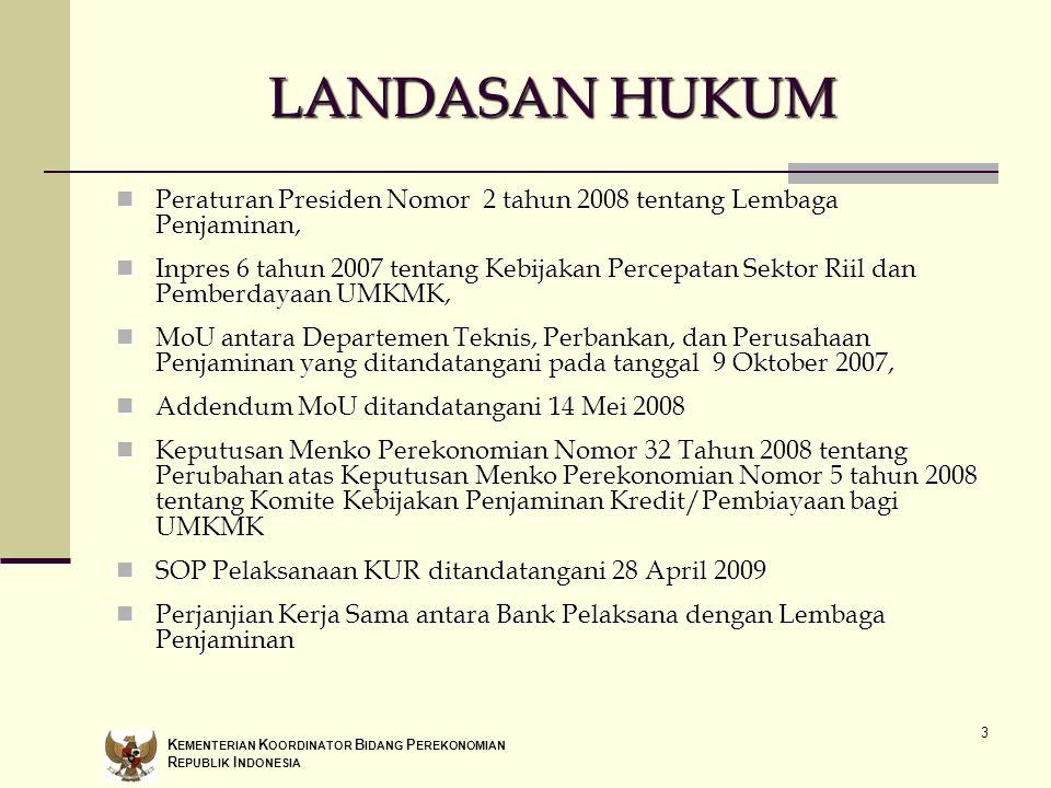 3 LANDASAN HUKUM Peraturan Presiden Nomor 2 tahun 2008 tentang Lembaga Penjaminan, Peraturan Presiden Nomor 2 tahun 2008 tentang Lembaga Penjaminan, I
