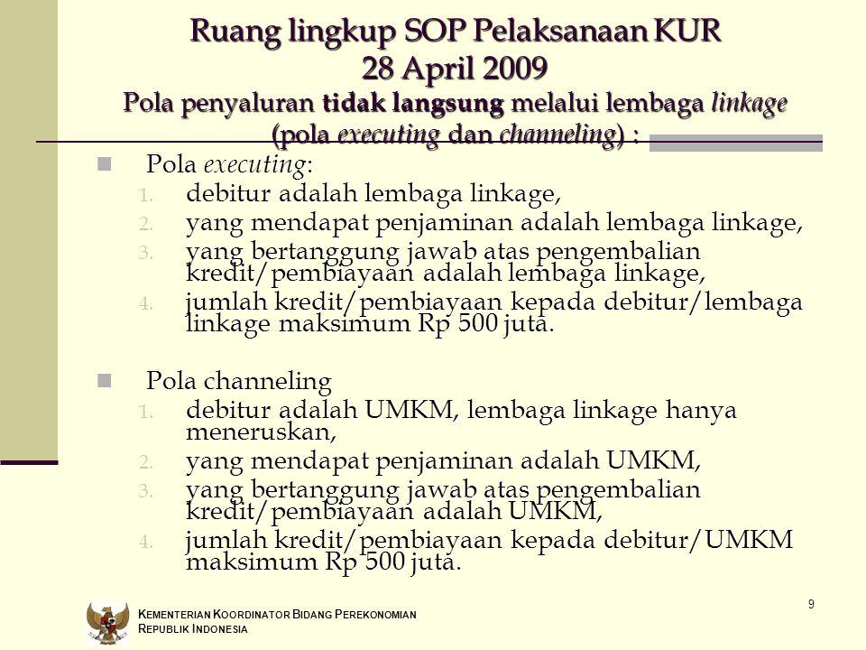 9 Ruang lingkup SOP Pelaksanaan KUR 28 April 2009 Pola penyaluran tidak langsung melalui lembaga linkage (pola executing dan channeling ) : Pola execu