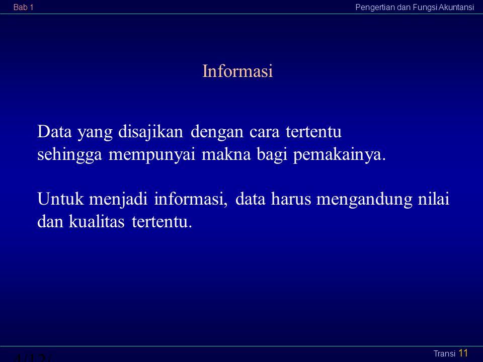 Bab 1Pengertian dan Fungsi Akuntansi4/12/2015 Transi 11 Informasi Data yang disajikan dengan cara tertentu sehingga mempunyai makna bagi pemakainya. U