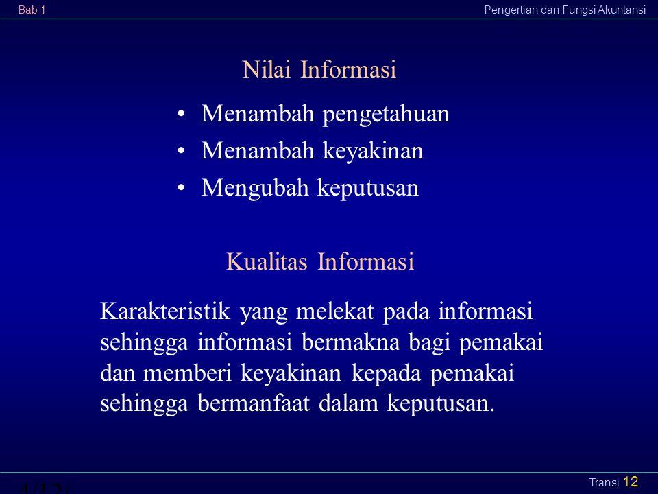 Bab 1Pengertian dan Fungsi Akuntansi4/12/2015 Transi 12 Nilai Informasi Karakteristik yang melekat pada informasi sehingga informasi bermakna bagi pem