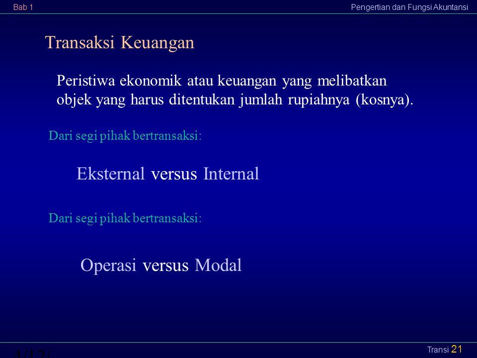 Bab 1Pengertian dan Fungsi Akuntansi4/12/2015 Transi 21 Transaksi Keuangan Peristiwa ekonomik atau keuangan yang melibatkan objek yang harus ditentuka