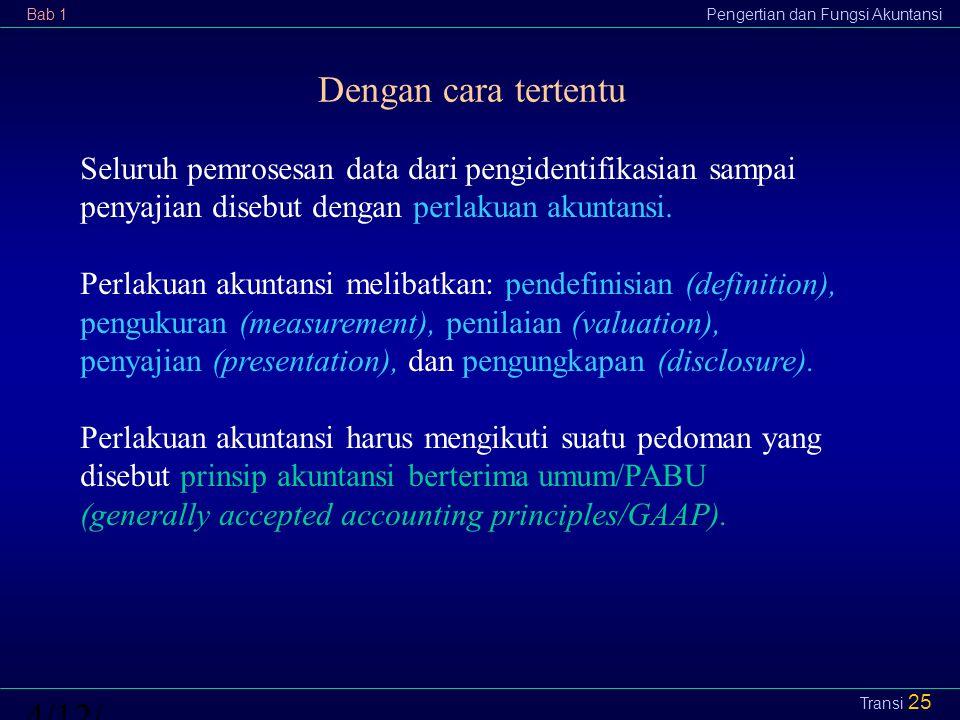 Bab 1Pengertian dan Fungsi Akuntansi4/12/2015 Transi 25 Dengan cara tertentu Seluruh pemrosesan data dari pengidentifikasian sampai penyajian disebut
