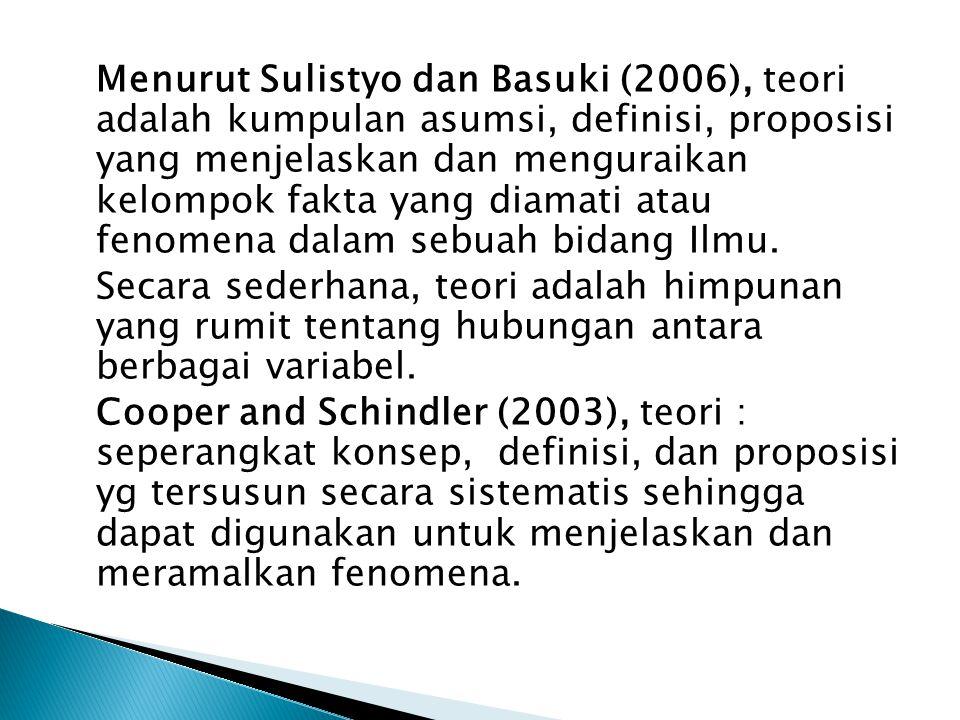 Menurut Sulistyo dan Basuki (2006), teori adalah kumpulan asumsi, definisi, proposisi yang menjelaskan dan menguraikan kelompok fakta yang diamati ata