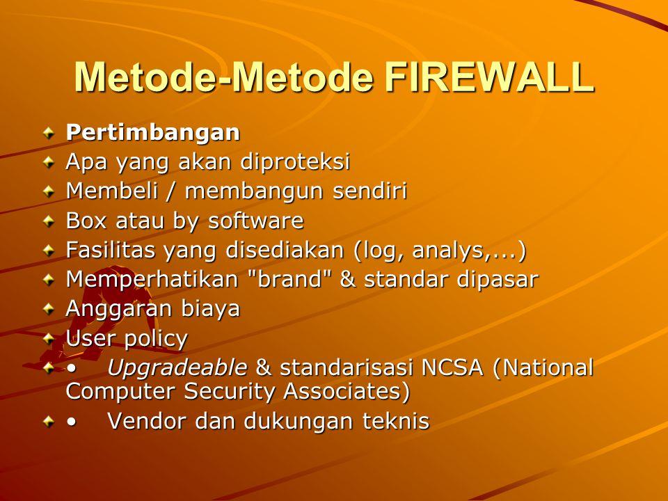 Metode-Metode FIREWALL Pertimbangan Apa yang akan diproteksi Membeli / membangun sendiri Box atau by software Fasilitas yang disediakan (log, analys,.