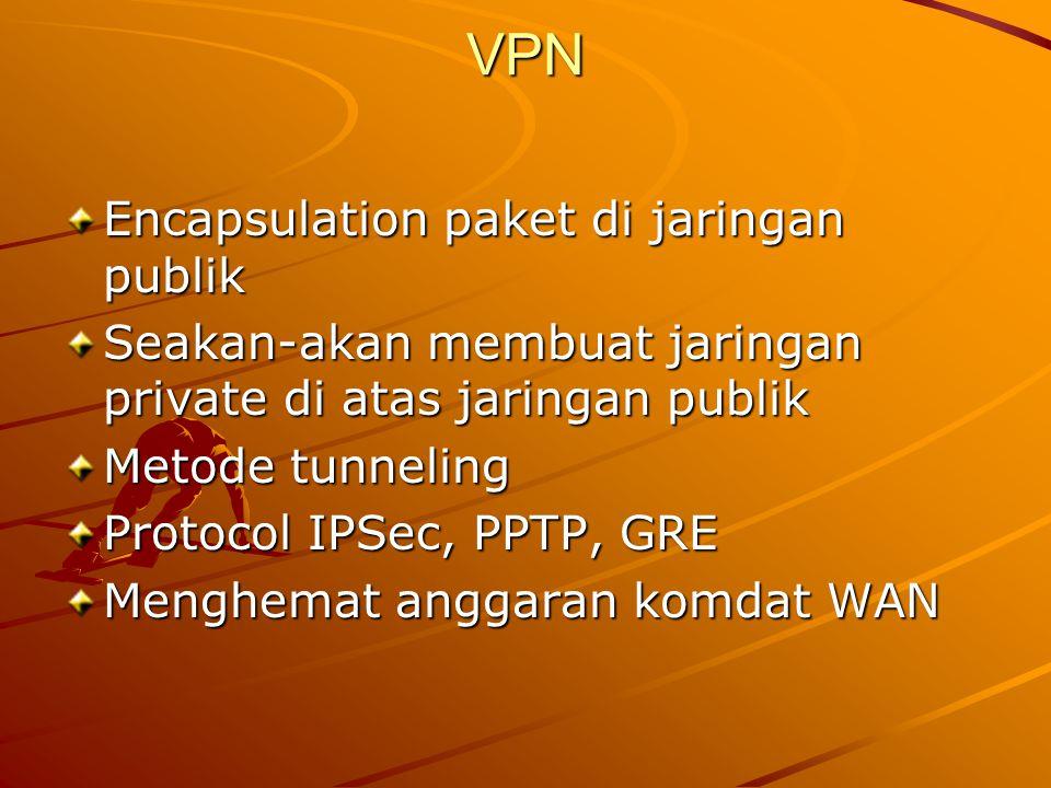 VPN Encapsulation paket di jaringan publik Seakan-akan membuat jaringan private di atas jaringan publik Metode tunneling Protocol IPSec, PPTP, GRE Men
