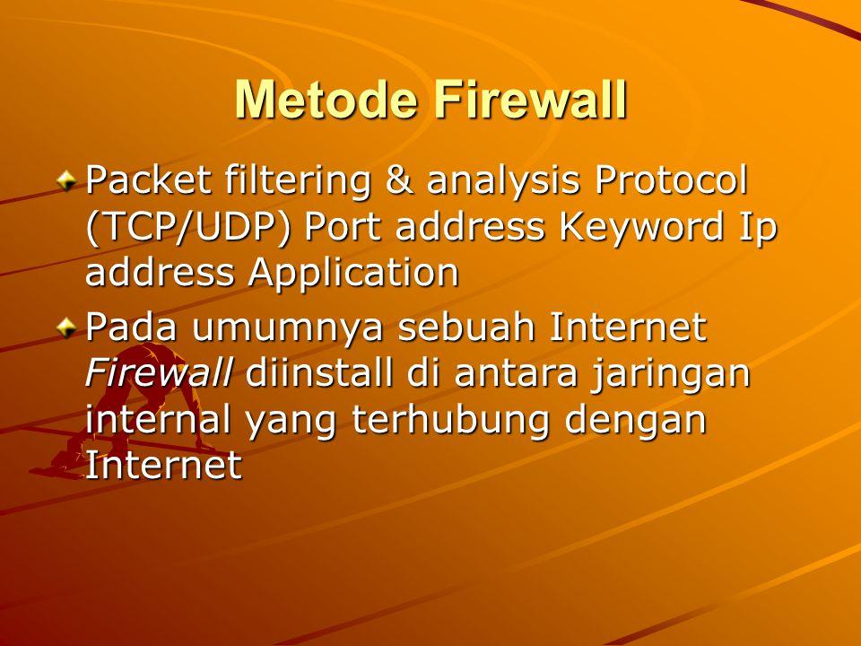 Metode Firewall Packet filtering & analysis Protocol (TCP/UDP) Port address Keyword Ip address Application Pada umumnya sebuah Internet Firewall diins