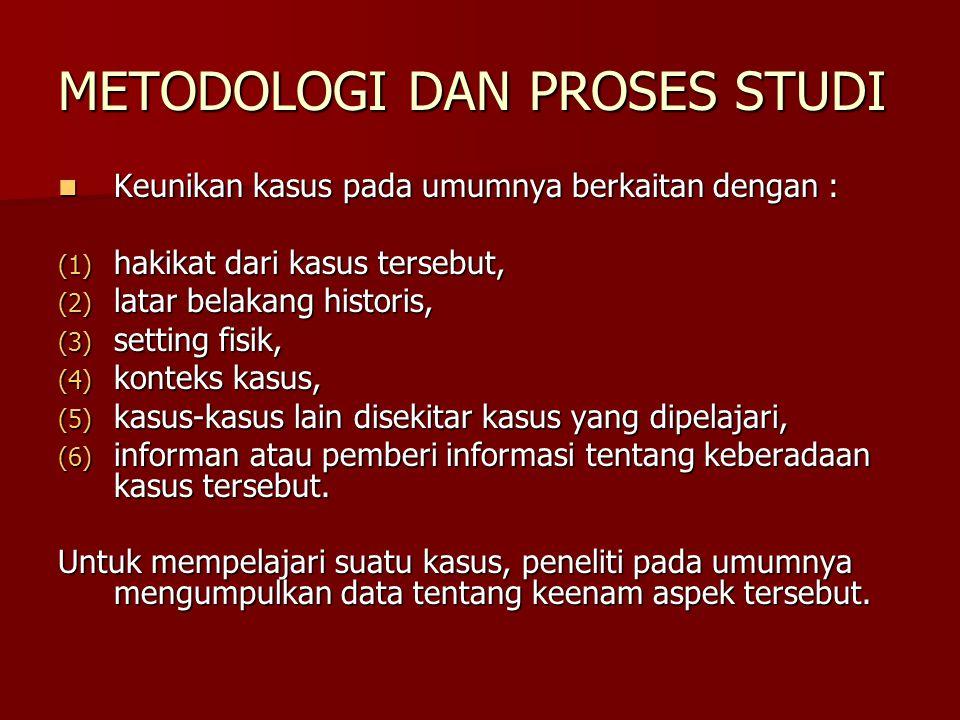 METODOLOGI DAN PROSES STUDI Keunikan kasus pada umumnya berkaitan dengan : Keunikan kasus pada umumnya berkaitan dengan : (1) hakikat dari kasus terse