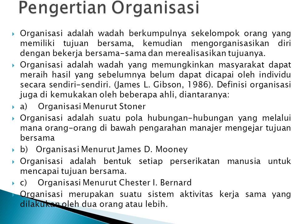  Organisasi adalah wadah berkumpulnya sekelompok orang yang memiliki tujuan bersama, kemudian mengorganisasikan diri dengan bekerja bersama-sama dan