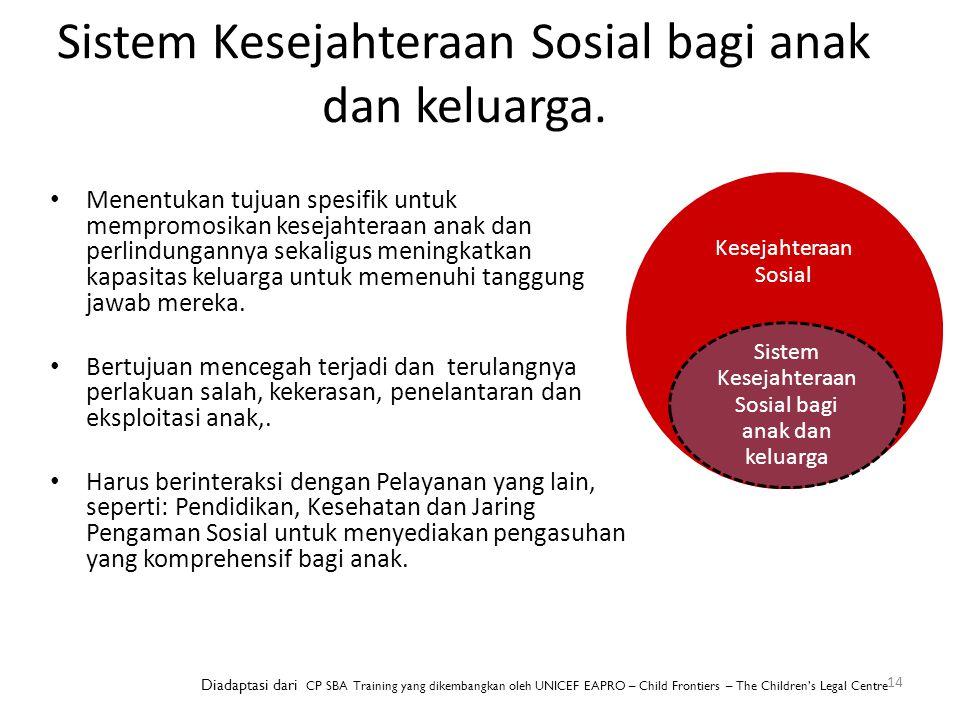 Sistem Kesejahteraan Sosial bagi anak dan keluarga. 14 Menentukan tujuan spesifik untuk mempromosikan kesejahteraan anak dan perlindungannya sekaligus